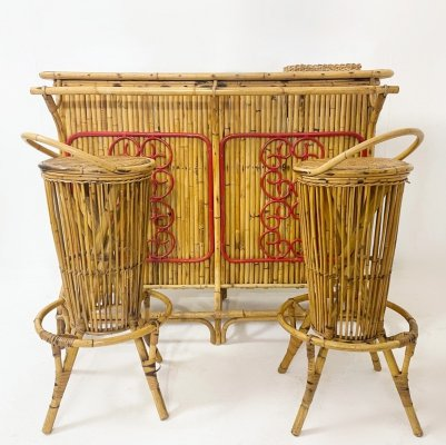 Italian Bamboo Bar with Two Stools, 1960s