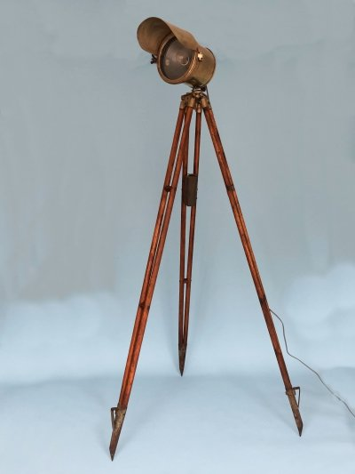 Antique Industrial Floor Lamp With Tripod Surveying Base