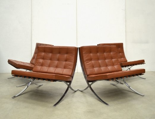 Cognac Barcelona Chair by Ludwig Mies van der Rohe for Knoll, 1980s