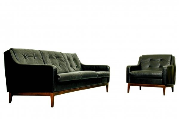 Black Leather seating group, 1960s