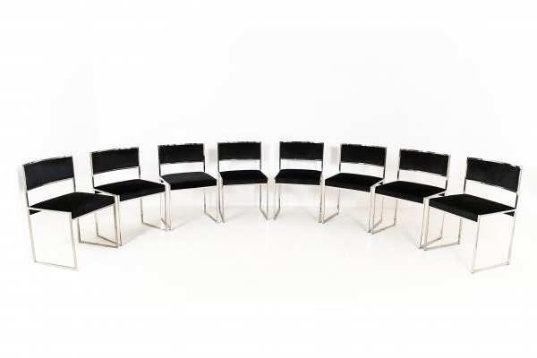 Set of 8 Willy Rizzo dining chairs, 1970s