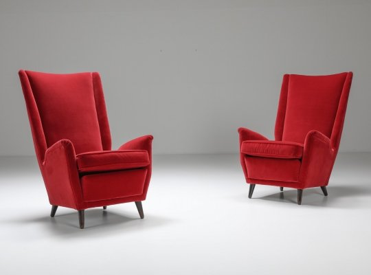 Set of Italian Red Armchairs by Gio Ponti, 1950's