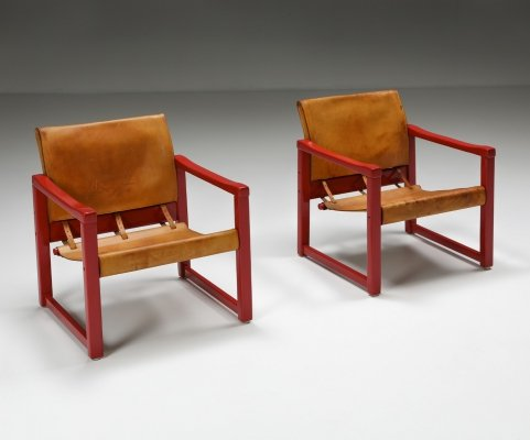 Set of Cognac Leather Karin Mobring 'Diana' Safari Chairs by Ikea, Sweden 1970s