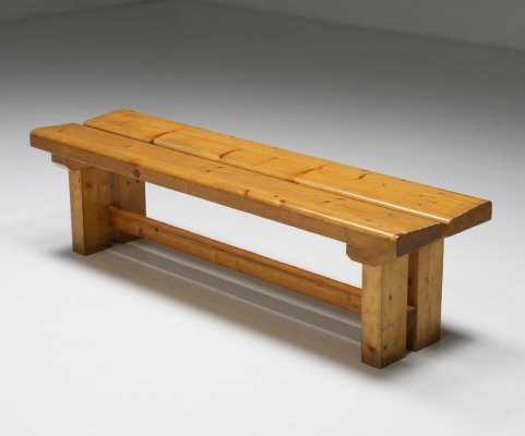Pine 'Les Arc' Bench by Charlotte Perriand, French Modernism 1970's