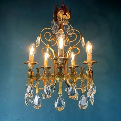 Vintage 5 arms chandelier with crystal drops, Italy 1960s
