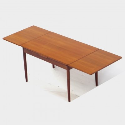 Vintage mid century extendable dining table in teak, 1960s