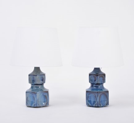 Pair of blue Danish midcentury table lamps by Einar Johansen for Soholm