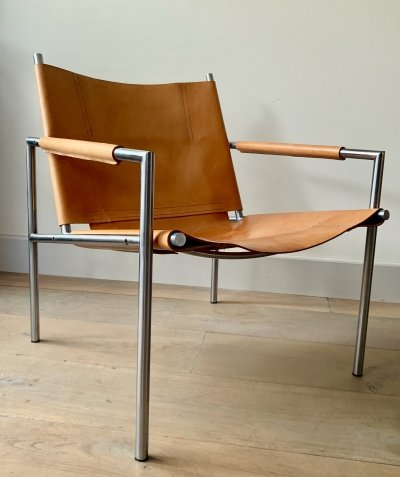 Light brown saddle leather SZ02 armchair by Martin Visser for 't Spectrum, 1960s