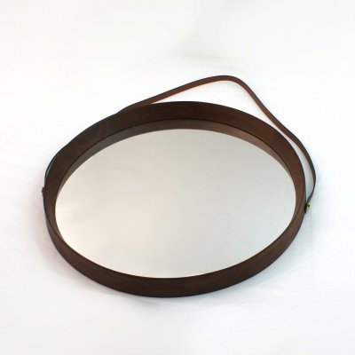 Italian 60's round teak mirror with leather cord & brass details