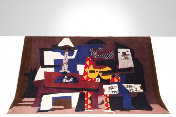 Rare limited edition rug by Pablo Picasso, depicting Three musicians
