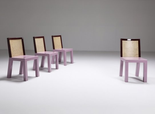 Postmodern Ettore Sottsass Pink Dining Chairs for Leitner, 1980's