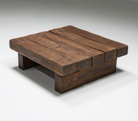 Rustic Solid Wood Craftsman Coffee Table, 1950's