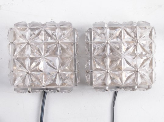 Pair of chrome & crystal glass wall lamps by Kinkeldey, 1970s