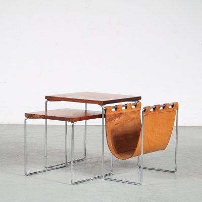 1960s Nesting tables with magazine rack by Brabantia, Netherlands