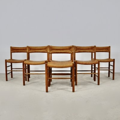 Set of 6 'Dordogne' Chairs by Charlotte Perriand for Sentou, 1950s