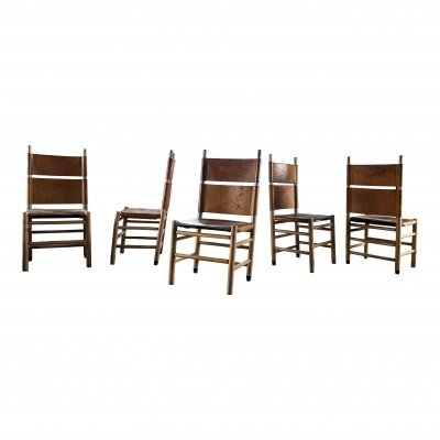 Set of 5 Kentucky dining chairs by Carlo Scarpa for Bernini, 1970s