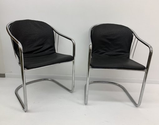 Set of 2 Gastone Rinaldi for Fasem Italy dining chairs, 1980's