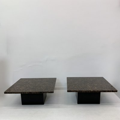 Set of 2 granite coffee tables / side tables, 1980's