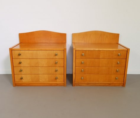 Solid wooden bedside tables with drawers, 1960s