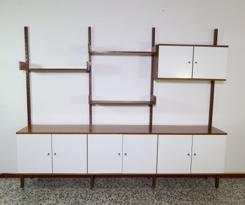 Teak Simpla Lux modular wall unit with white Formica doors
