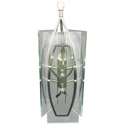 1970s Italian Glass & Metal Space Age Pendant by Veca