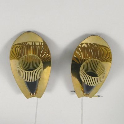 Pair of rockabilly wall lamps, 1950s