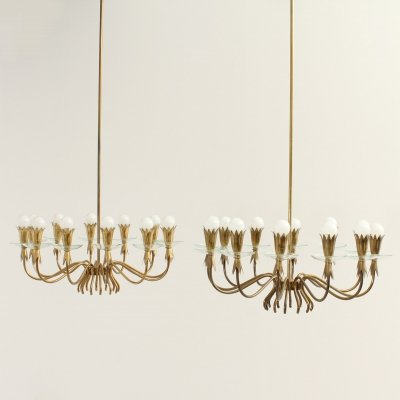 Pair of Brass & Glass Large Chandeliers, Italy 1940's