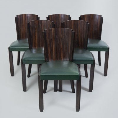 Six French Art Deco Macassar dining chairs, 1930s