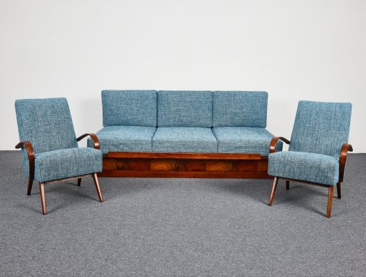 Mid-Century Sofa-Bed & Armchairs by Jindřich Halabala for UP Závody, 1950s,