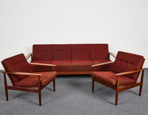 Mid Century Vintage 4-seats Sofa-bed with armchairs, 1960's