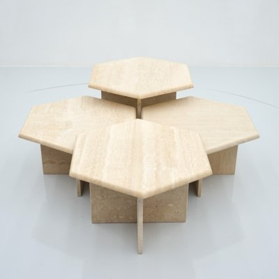 Set of Four Hexagonal Travertine Side or Coffee Tables, Italy 1970s