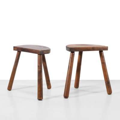 Two French brutalist milking stools