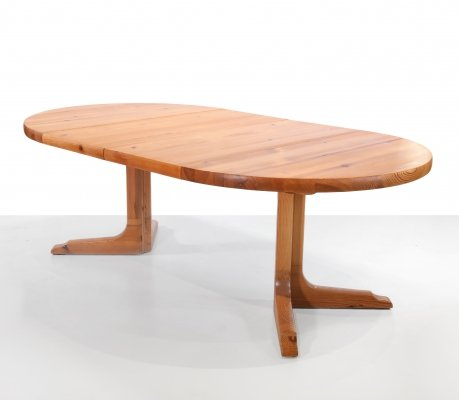 Round extendable dining room table by NC Mobler, Sweden 1970s