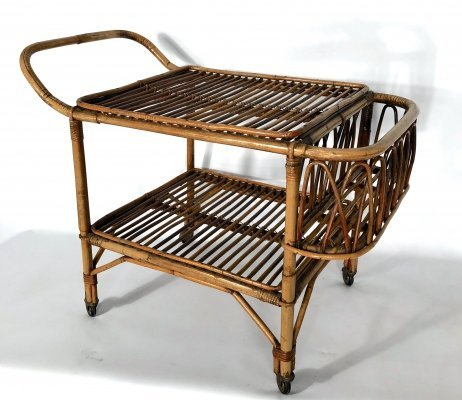Vintage bamboo bar trolley, Italy 1950s