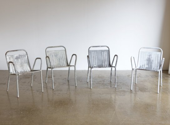 Set of 4 metal chairs, 1980s