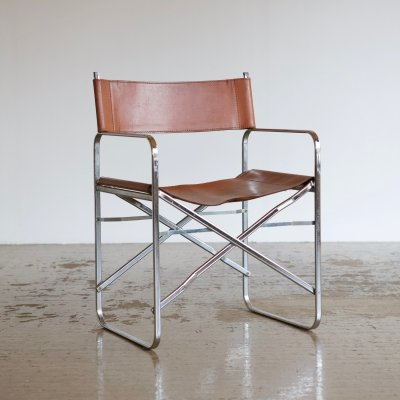 Folding leather chair, 1970s