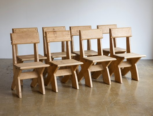 Set of 8 artisan rustic chairs, 1980s