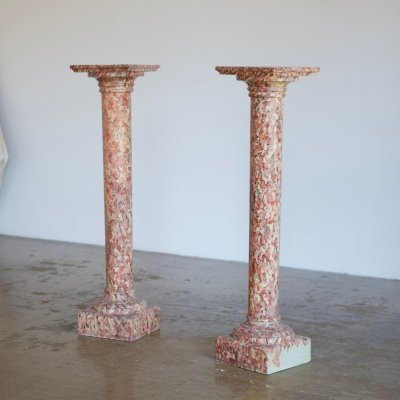 Pair of painted faux marble plinths, 1980s
