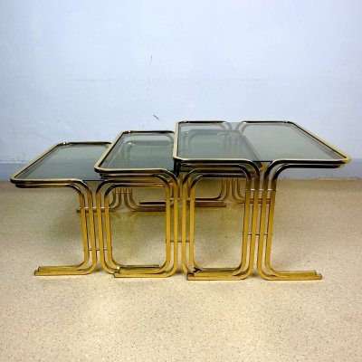 Set of 3 mid-century gold brass coffee tables, Italy 1960s