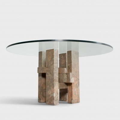 Sculptural Willy Ballez Dining Table in Marble & Glass