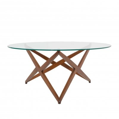 Italian Modern Round Coffee Table with Star-shaped Base by Angelo Ostuni, Italy