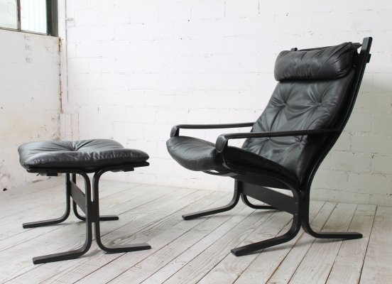 High-backed 'Siesta' Chair with Ottoman by Ingmar Relling for Westnofa, 1960s