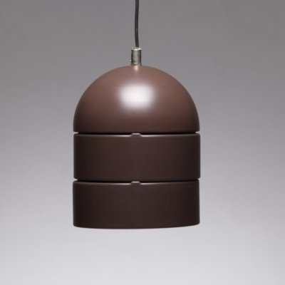Brown pendant lamp in Lacquered metal, 1970s