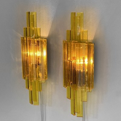 Pair of acrylic wall lights/sconces by Claus Bolby for CeBo industri, 1960s