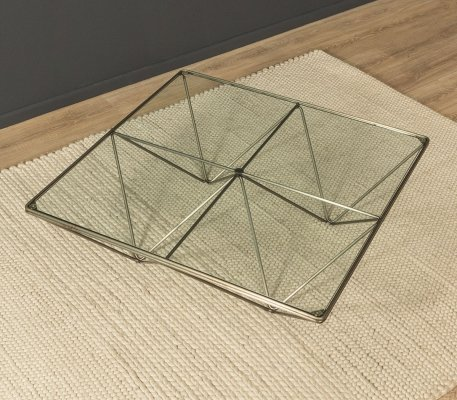 1970s coffee table in glass & steel