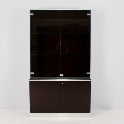 Wood & smoked glass office cabinet by ABBONDinterni, Italy 1970's