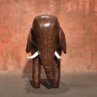 Vintage Leather Elephant Foot Stool by Dimitri Omersa for Abercrombie & Fitch