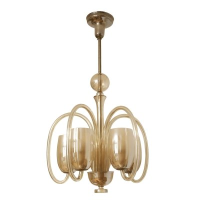 Mid Century large all-glass five-point ceiling lamp, Czechoslovakia 1950s