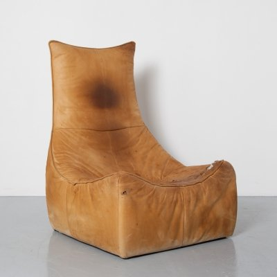 Caramel leather The Rock lounge chair by Gerard van den Berg for Montis, 1970s