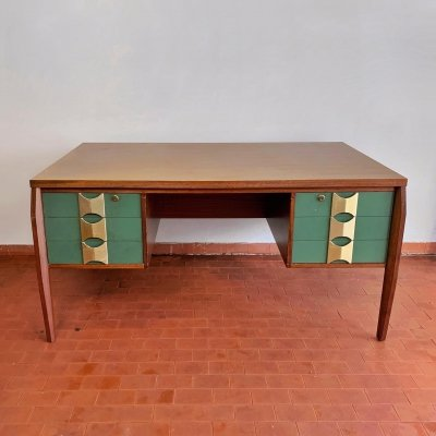 Mahogany & formica writing desk with brass details by Vittorio Dassi for Dassi Mobili Moderni, 50's